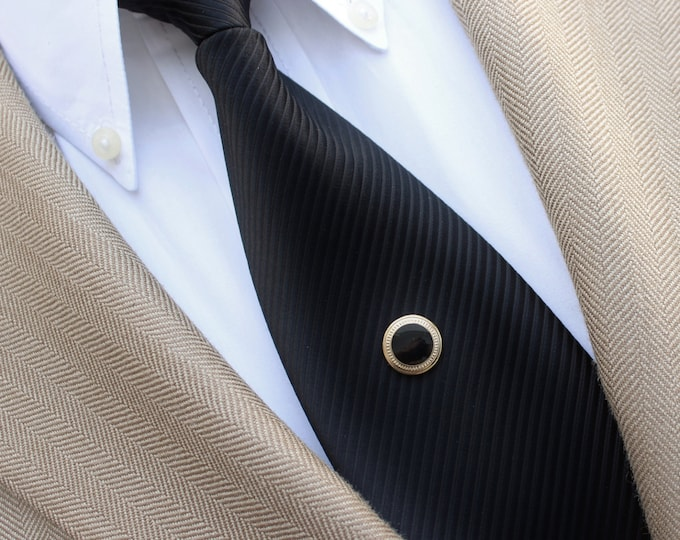 Mens Tie Tacks, Black and Gold Tie Tack, Mens Tie Tack Pin, Clutch Pin Tie Tack, Mens Accessories, Mens Suit Accessories, Mens Fashion