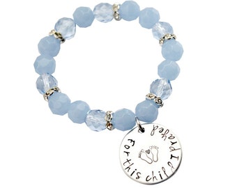 For this Child I Prayed Baby Blue hand stamped mom bracelet