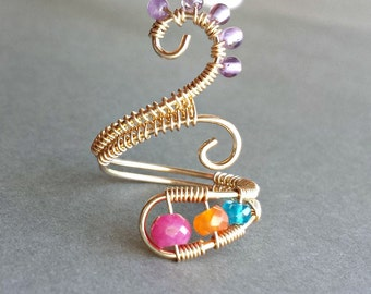 Colorful Gemstone Ring, Ruby Wire Ring, Adjustable Gemstone Ring, Apatite Ring, Amethyst Wire Ring, Wire Wrapped Ring, Boho Ring