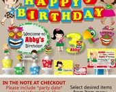 Kids Luau Birthday Party Decorations - Package, Banner, Cake Topper, Cupcake, Invitation, Invite, Favor Tag, Door Sign, Centerpiece