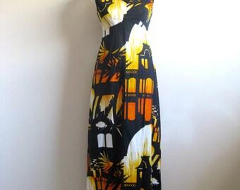 Vintage 60s Hukilau Summer Dress Black Orange Hawaiian Sunset Landscape 1960s Maxi Dress 10