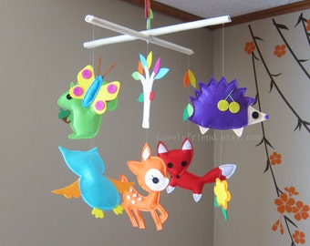 """Baby Mobile - Nursery Mobile - fox and butterfly Felt crib Mobile - """"Forest Animals"""" Mobile (Custom Color Available)"""