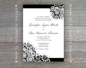 Black & White Wedding, Birthday Party, Engagement Party Invitation- Chantilly Lace- Digital Printable File OR Professionally Printed Cards