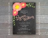 Wedding, Bridal Shower, Bridal Brunch, Engagement Party Invitation-Chalkboard Blooms- Digital Printable File OR Professionally Printed Cards