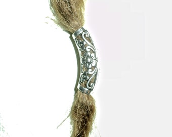 silver flower swirly dread bead dreadlocks tube