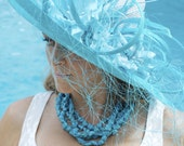 Blue straw hat, formal hat, classic Kentucky Derby hat, blue couture hat, blue fashion hat