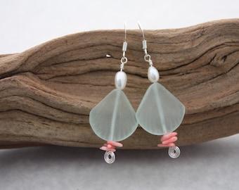 Sea Glass Earrings Sea Glass Jewelry Hawaiian Jewelry Hawaii Jewelry Seaglass Earrings Seaglass Jewelry Coral Earrings Beach Jewelry CO001