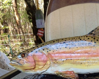 """Yellowstone Cutthroat trout 34"""" chainsaw wooden fish carving indoor outdoor trout wall mount fly fishing rustic home decor lake lodge art"""