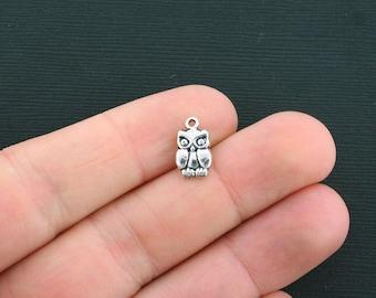 15 Owl Charms Antique Silver Tone Tiny Bird Charm- SC171