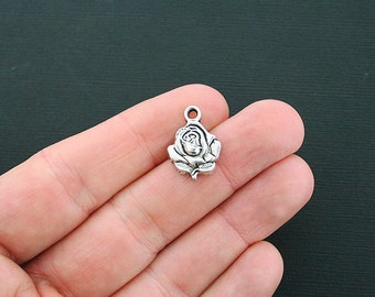 8 Rose Charms Antique Silver Tone - SC4645