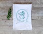 Tea Towel - Mermaid Flour Sack Towel Nautical Dish Cloth Summer Seashore Anchor Sailing Beach Aqua Mint