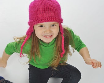 Baby / Toddler Girl Hand Knitted Earflap wool Beanie, Hat Hot Pink with Blue Green Yellow Pom poms, 0-3-6-9-12-24 months 2T-3T 4T-5 6-8
