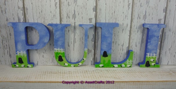 Puli, dog Hand painted letters, Puli collectable, Herding dog, Black faced sheep, mixed media, Assetcrafts, Hungarian Puli, Black Puli dog
