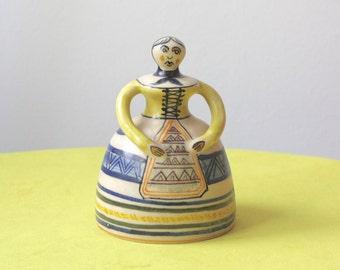 Vintage Spanish Pottery Bell Folk Art Handmade