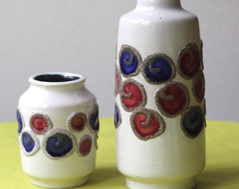Vintage East German Pottery Set of Two Vases by Strehla White with Blue and Burgundy Circles