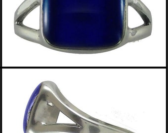 Mood Ring Sterling Silver 10MM Rounded Square Splitband