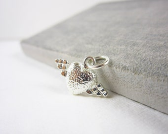 Sterling Silver Charms - Small Heart Pendant for Valentine's Day - Simple Heart Charm - Wing Charm Gift For Her - Small Pendant