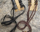 Leather Hair Wraps Black Leather Ties Laced Corset Beaded Ponytail Holder Hair Jewelry Extensions Z103