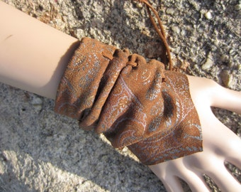 Bohemian Jewelry Leather Cuff Bracelets Wristbands Crushed Paisley Printed Suede Women's BOHO Accessories