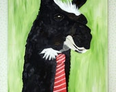Llama Canvas Painting  Llama in a Tie 24x36 Canvas Art Black and Green Paulo the Llama