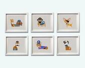 Dog Pirate Nursery Boy Girl Baby Chihuahua Pug Dachshund Wall Art Blue Grey Nautical Beach more colors available set of 6