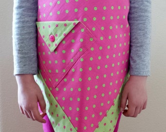 Double Thick Pink and Green Polka Dot Child's Apron : Size 3-8 (approximately)