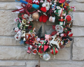 Vintage Christmas Wreath Hand Crafted Hand Made Heirloom Wreath Vintage Ornaments Collectable OOAK