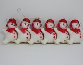 Vintage Plastic Snowmen Figurines Lot Hong Kong 6 Pieces