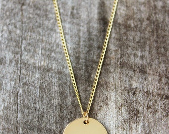 CUSTOM Text Personalized Gold Disc Necklace - Gold disc necklace, name necklace, gold filled, circle necklace, personalized jewelry, disk