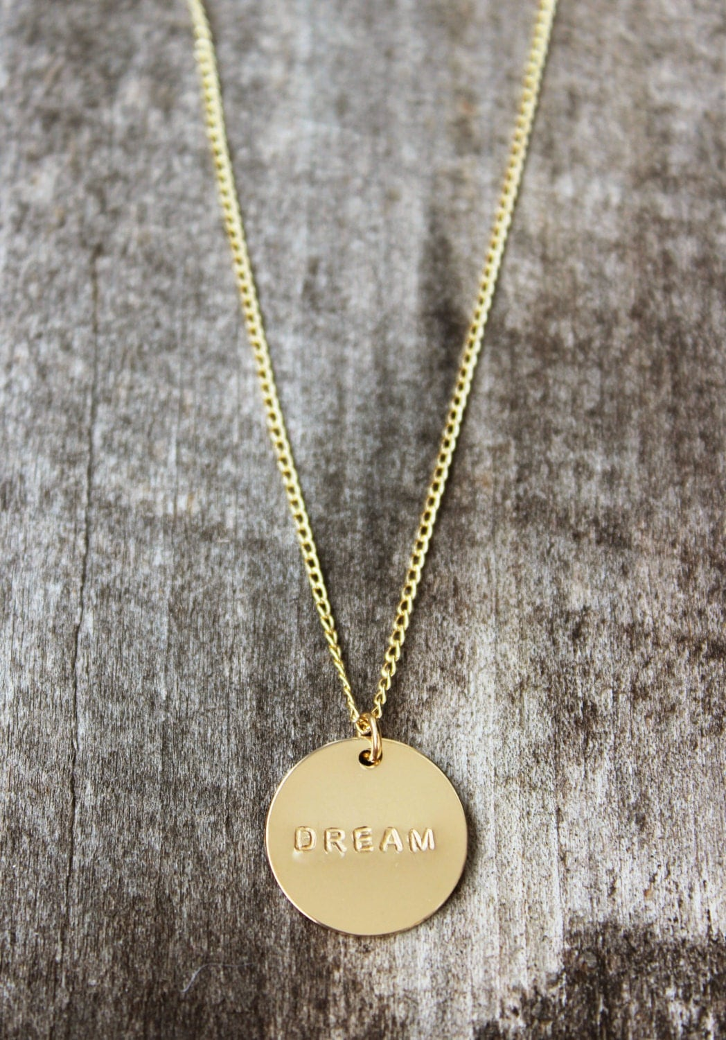 custom text personalized gold disc necklace gold disc. Black Bedroom Furniture Sets. Home Design Ideas