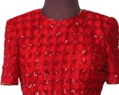 """Vintage 80s Red Sequin Beaded Dress Size 6 32"""" Bust Wiggle Nipon Sparkly Wedding Evening Prom Formal Stunning Short Sleeve Iridescent Beads"""