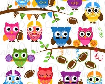 Football Owl Clipart Clip Art, Sports Owl Clip Art Clipart Vectors - Commercial and Personal