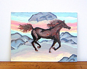Vintage Original Painting Galloping Horse in Desert