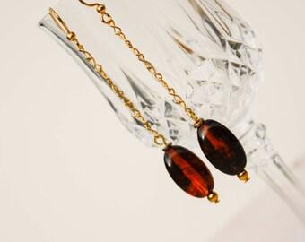 Tortoise Drop Earrings in Gold - Delicate Infinity Chain, Bead, Brown