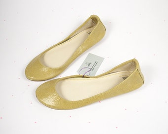 Ballet Flats Shoes Lime Yellow Soft Leather Handmade Ballerinas