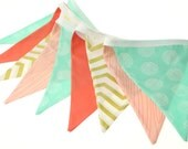 Coral Mint & Metallic Gold Fabric Pennant Bunting Banner -   great for birthday party decor, nursery, playroom, photo prop