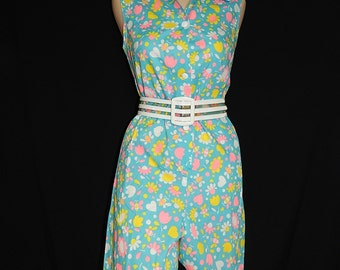 Cute vintage 60's sky blue yellow white pink hearts bees bugs flowers cotton sleeveless summer mod romper bermuda shorts  by Nymphorm -  M