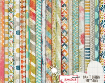 Can't Bring Me Down - 12x12 Digital Scrapbooking Papers, Printable, Instant Download, ATC Cards, Collage, Hybrid, Mixed Media, DIY Crafts :)