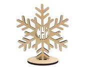 Monogramed Snowflake Decoration-Laser Cut Birch Wood