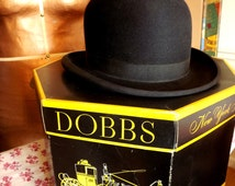 Bowler Hat, Vintage Dobbs Black Hat in Original Hat Box, Mens Derby Hat from Lord & Taylor