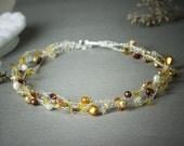 Orange Crochet Necklace, birthstone Citrine gemstone Necklaces, Sterling Silver, Carnelian White Gold Pearls,
