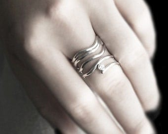 Silver Wrap Ring Wave Design with CZ Gemstone Accent in Sterling Silver - Made to Order In Your Size