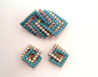 Blue and Crystal Brooch and Earrings Set
