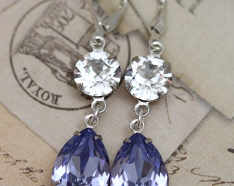Light Purple Crystal Earrings Silver Lavender Lilac Swarovski Crystals