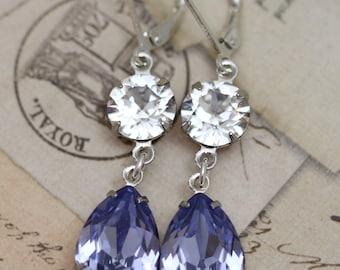Light Purple Crystal Earrings Silver Lavender Lilac Swarovski Crystals