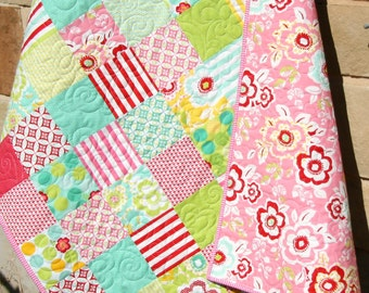 Moxi Baby Quilt, Patchwork Pink Blue, Girly Girl Blanket, Nursery Decor, Crib Cot Bedding, Flowers Aqua Red, Handmade Shower Gift, Modern
