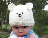 Polar bear hat, beanie for 3-4 month old baby,  soft wool, bamboo and silk. Cream colour