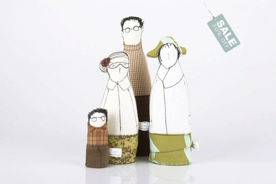 SALE- Family portrait -  Soft sculpture dolls 3 older figures, and child ,Dressed in shades of fawn , sage green, brown -handmade eco dolls