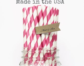 50 Paper Straws Hot Pink Striped Paper Straws Princess Party Supplies Wedding Baby Shower, Rustic, Vintage, paper goods, Table Setting, Cake