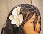 Birdcage Veil With Flower Head Piece, Bridal Orchid Flower Fascinator  - CHINESE PRINCESS
